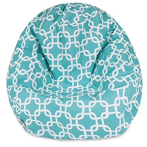 Majestic Home Goods Classic Bean Bag Chair - Links Giant Classic Bean Bags for Small Adults and Kids (28 x 28 x 22 Inches) (Teal Blue)