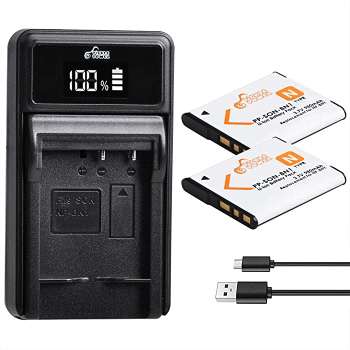 Pickle Power 2 Pack NP-BN1 Batteries and Battery Charger for Sony Cyber-Shot DSC-W800 DSC-W530 DSC-W570 DSC-W650 DSC-W830 DSC-W310 DSC-W330 DSC-TX10 TX20 TX30 DSC-WX100 DSC-W800 DSC-QX10 DSC-QX30