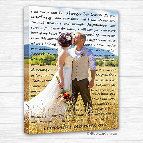 Cotton Anniversary Gift Canvas Wedding Lyrics, Text Behind, Wedding Canvas Photo Decor Words Vows lyrics, Anniversary or Wedding Art ()