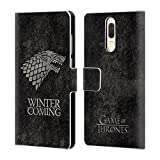Official HBO Game of Thrones Stark Dark Distressed Sigils Leather Book Wallet Case Cover for Huawei Mate 10 Lite