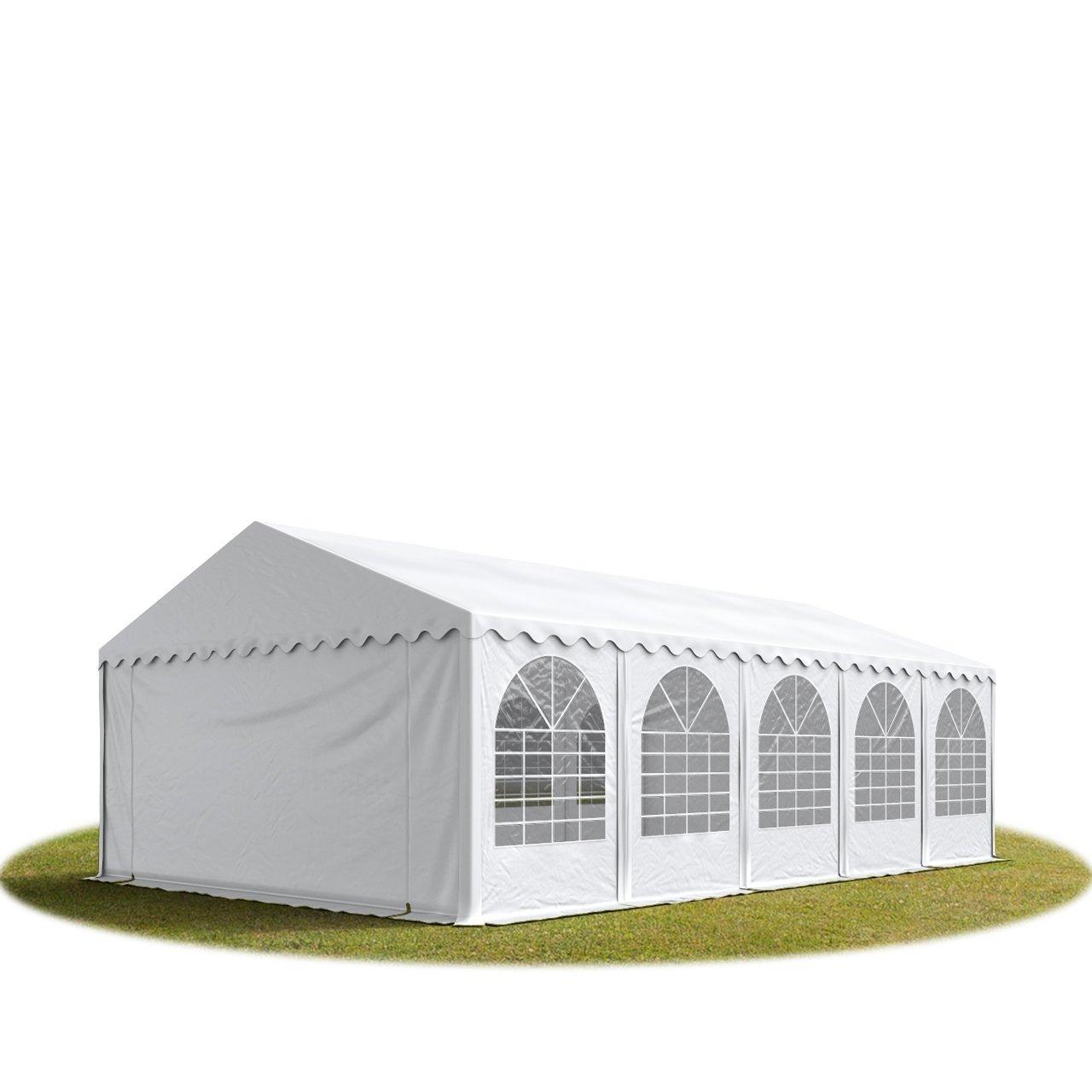 Festzelt XXL Partyzelt 5x10m, hochwertige 550g/m² feuersichere PVC Plane nach DIN in weiß, 100% wasserdicht, vollverzinkte Stahlkonstruktion mit Verbolzung, Seitenhöhe ca. 2,6 m