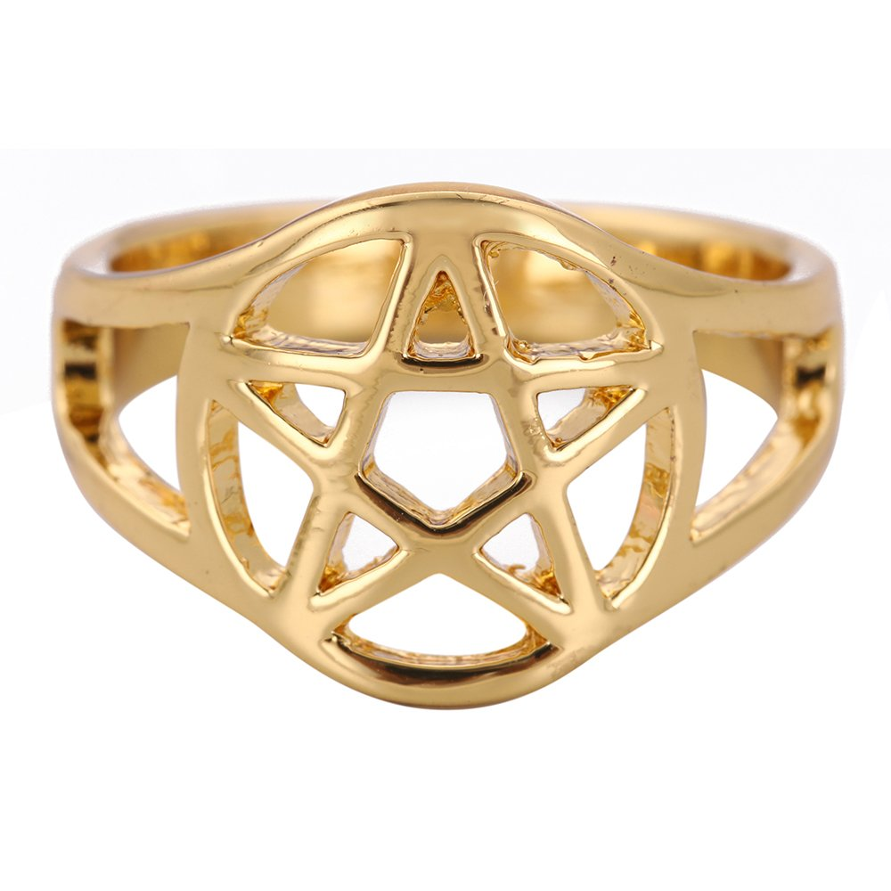 fishhook Pagan Pentacle Amulet Talisman for Protection Punk Ring for Man and Women