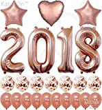 2018 Rose Gold Confetti Balloons, Graduation Decorations - Huge, 40 Inch | Graduation Party Supplies 2018 | Great for Rose Gold Graduation Decorations | Graduation Balloons with Ballon String