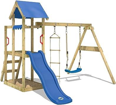 WICKEY Parque infantil de madera TinyPlace con columpio y tobogán azul, Torre de escalada de exterior con arenero y escalera para niños