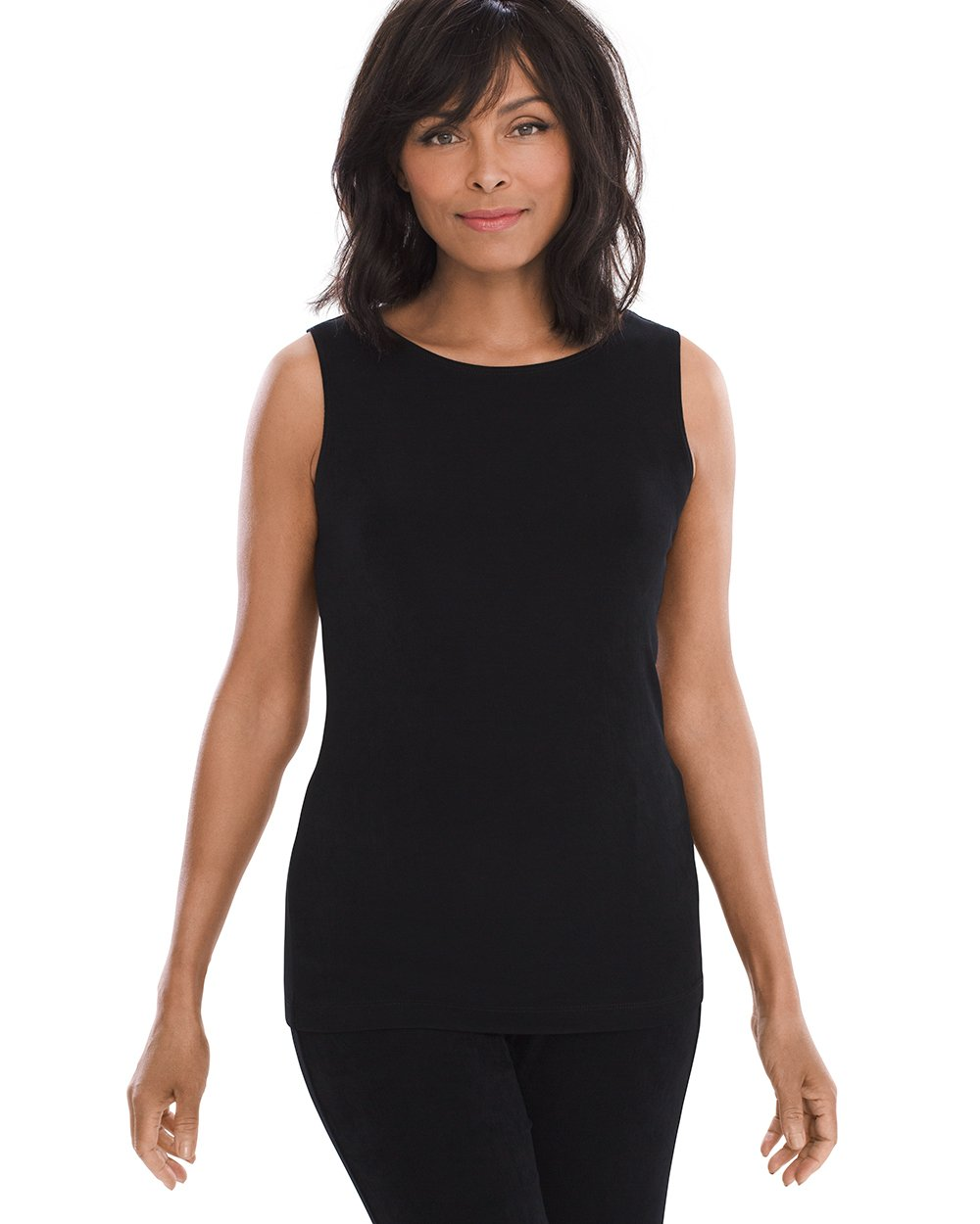 Chico's Women's Travelers Classic Essential Reversible Tank Size 4/6 S (0) Black