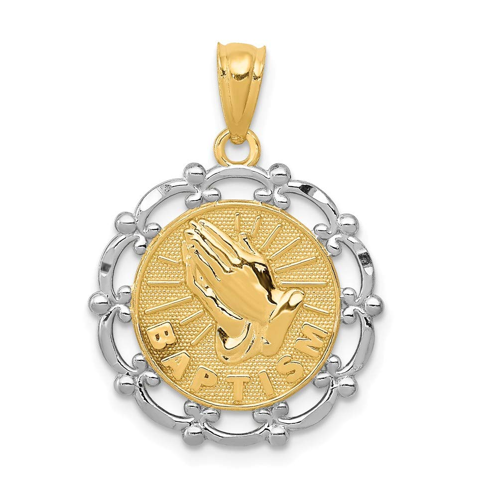 14k Yellow with White Rhodium Two-tone Gold Baptism Pendant