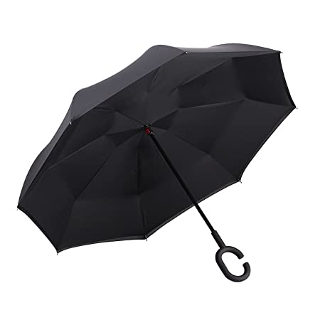 Reverse Folding Inverted Umbrella Double Layer Wind Proof UV Proof Inside Out Car Self Standing Umbrella
