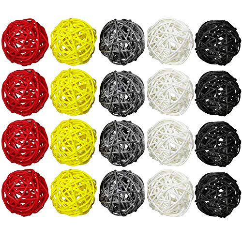 ZZPRO 20 Pcs 2'' Wicker Rattan Balls Decorative Orbs Vase Fillers for Craft Project, Wedding Table Decoration, Themed Party, Baby Shower, Aromatherapy Accessories,5 -
