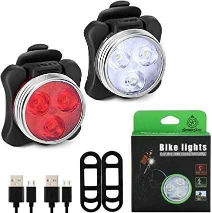 Rechargeable Front/&rear 5 led light set-small bright lights red white lamp bike