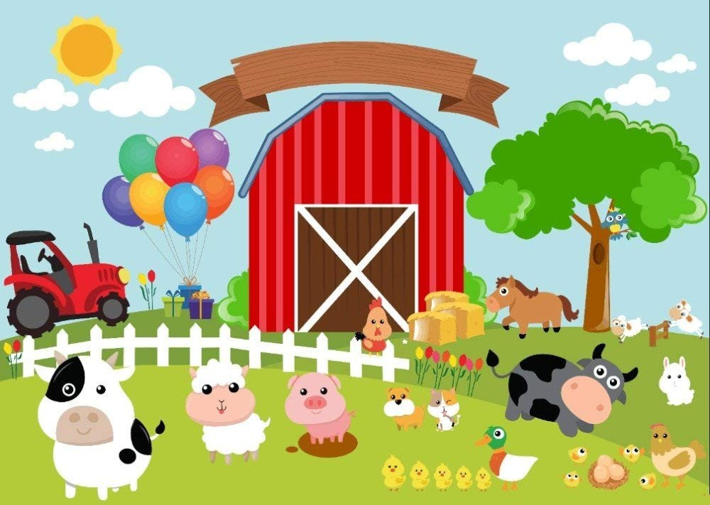 7x5ft Red Barn Barnyard Tractor Balloons Animals Fence Garden Backgrounds High-grade Pictorial cloth Computer print children kids backdrop CST1132 by Tommy backdrop (Image #1)