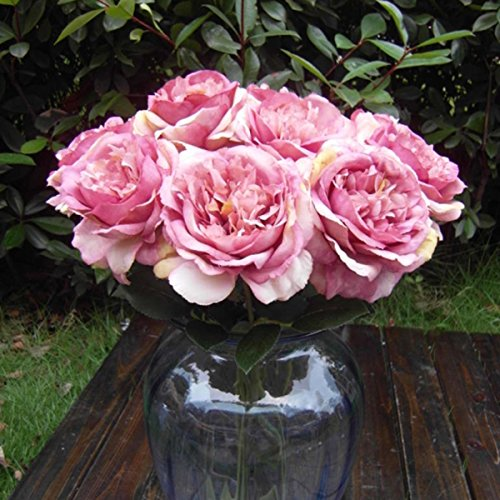 {Factory Direct Sale} (Pack of 10) Artificial Faux Silk Blooming Rose Floral Flower Leaf Bridal Bouquet Wedding Garden Party Home Room Decor Flower Arrangement Craft Art DIY (white,purplish blue,pink,blue,purple For Your Choice)