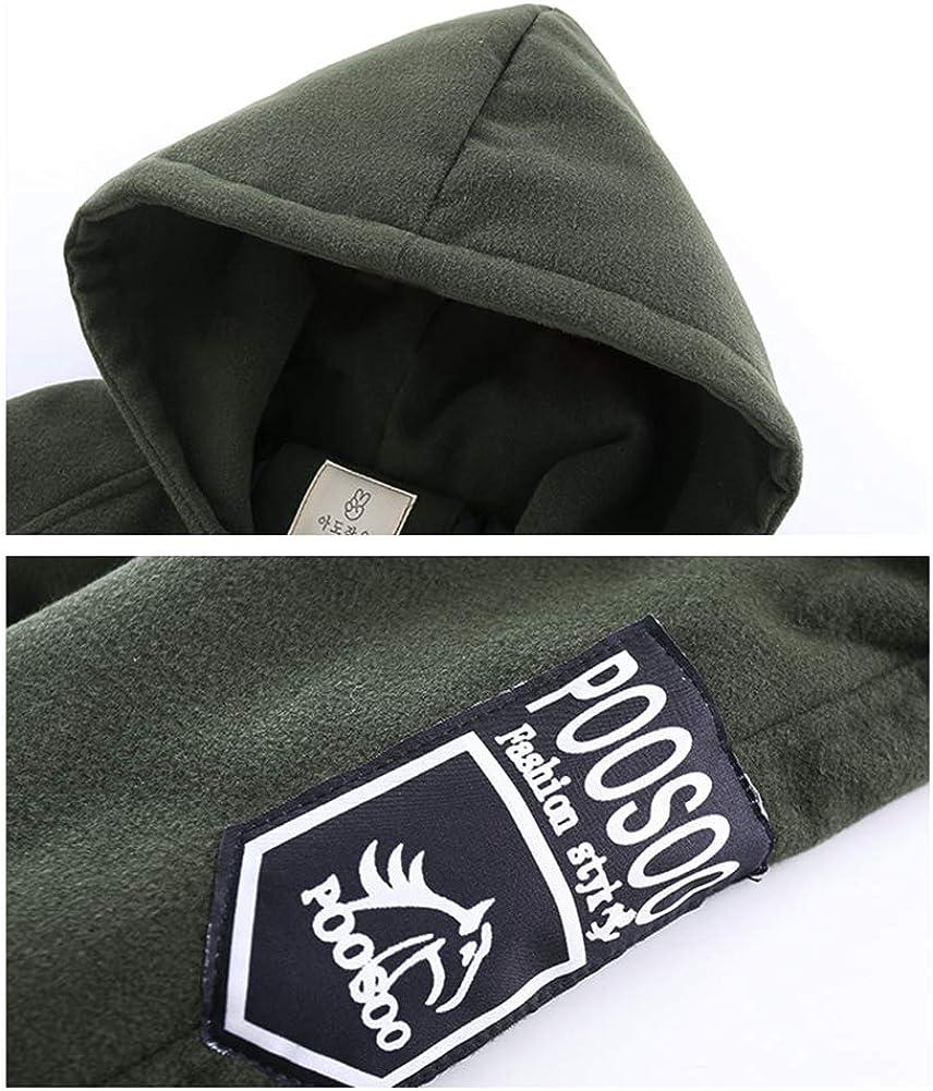 Children Boys Winter Thicken Woolen Coat Letter Print Plus Velvet Hooded Jacket