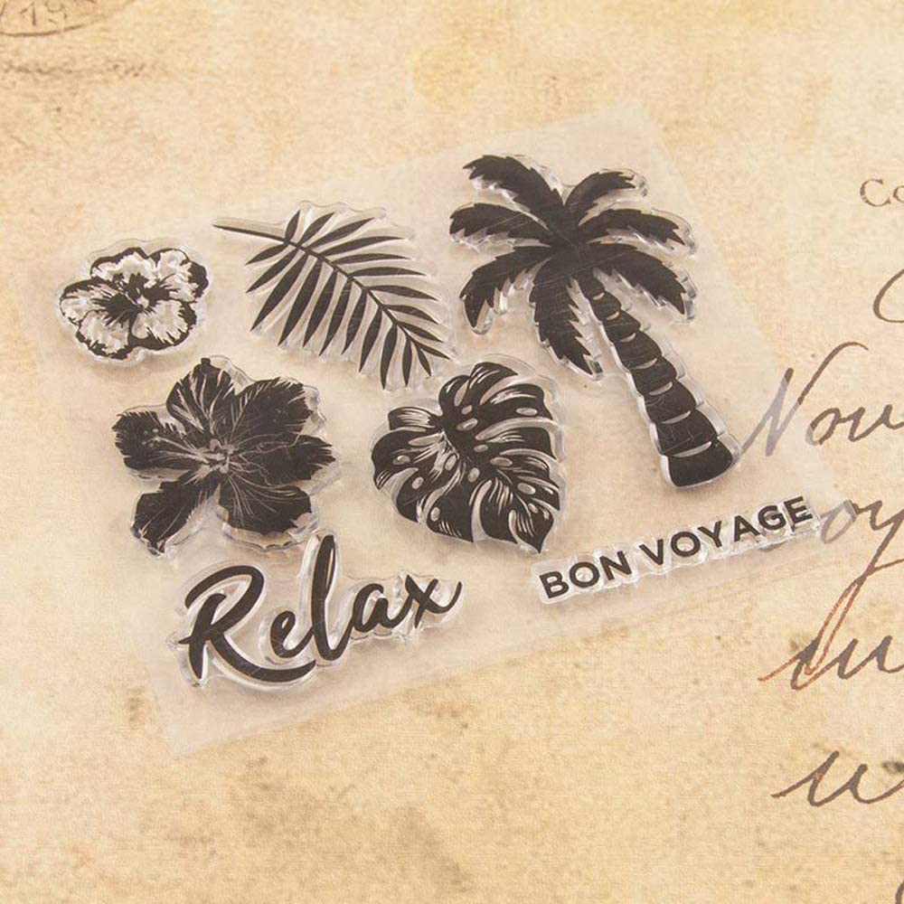 4.9 by 4.1 Inches Leaves Flower Coconut Trees Clear Rubber Stamps for Scrapbooking Card Making Christams Thanksgiving Craft Stamps