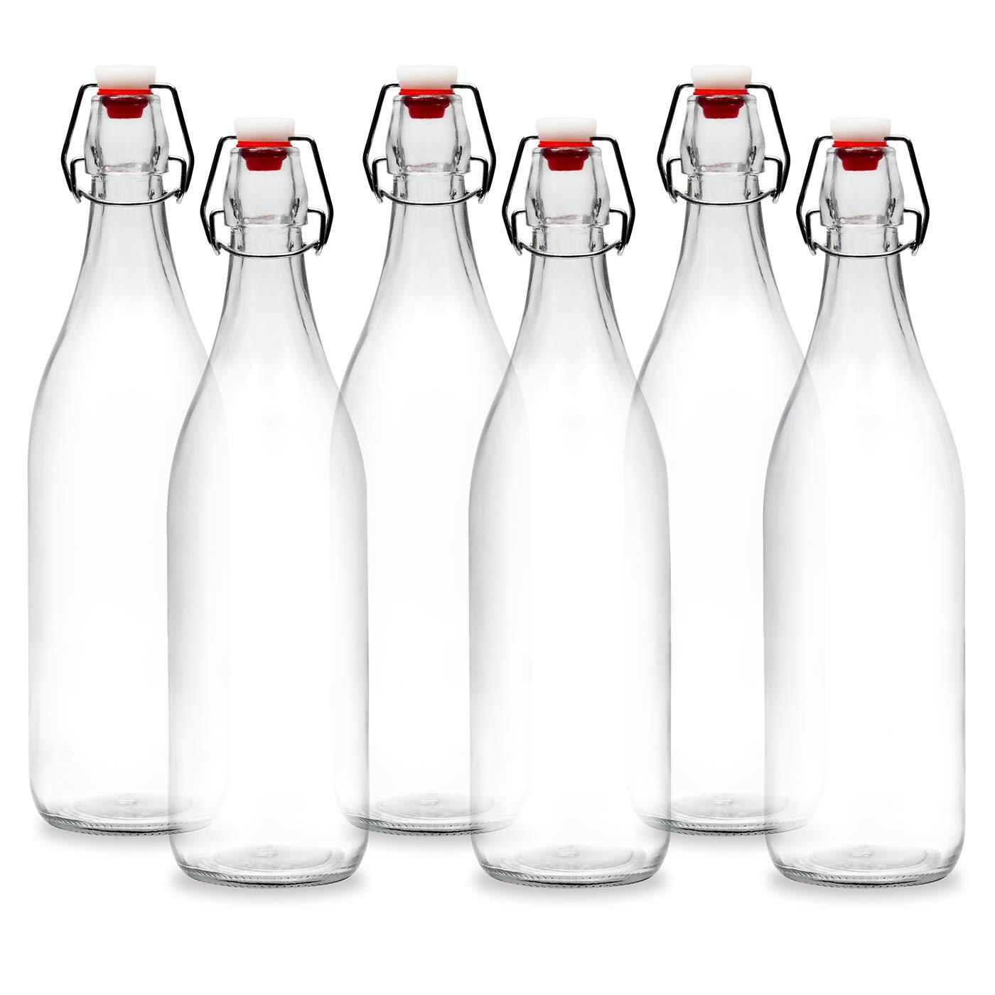 Americanflat 6 Pack - 900ml (30oz) Glass Bottle - Home Brewing Bottles with Easy to Open & Close Seals - Swing Top Bottles with Airtight Lids for Oil, Vinegar, Beverages, Liquor, Beer, Water, Kombucha