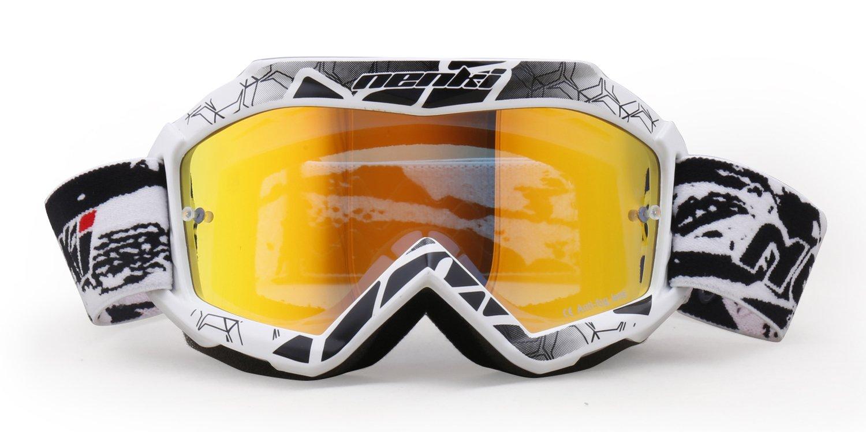 NENKI Maschera//Occhiali Motocross Bambino NK-1018 nero bianco