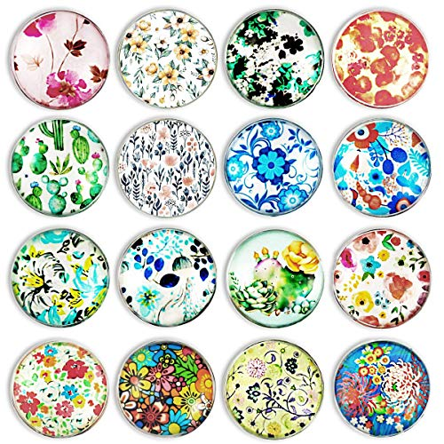 (Update)Cosylove 16pcs Big Flower Refrigerator Magnets, Crystal Glass Fridge Magnets for Office Cabinets, Whiteboards, Photos, Decorative -