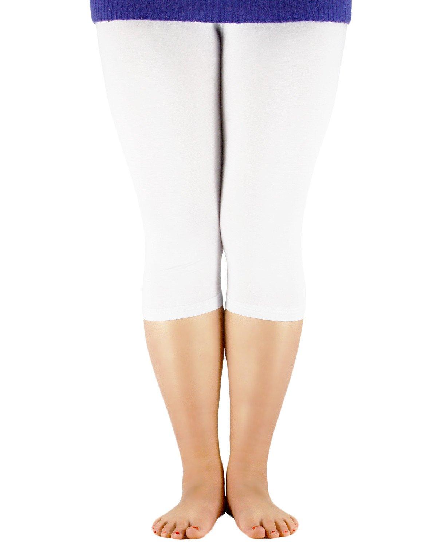Century Star Women's Plus Size Elastic Waist Cotton Basic Solid Capri Leggings White US 3X Plus(Tag 6XL)