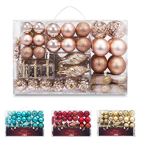 Ornament Set Shatterproof - AMS 72ct Christmas Ball Assorted Pendant Shatterproof Ball Ornament Set Seasonal Decorations with Reusable Hand-Help Gift Boxes Ideal for Xmas, Holiday and Party (72ct, Champagne)
