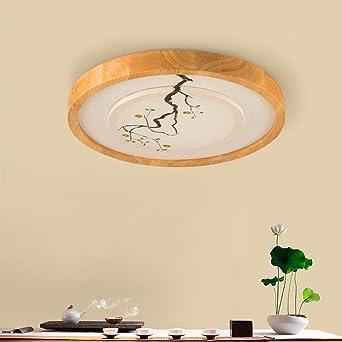 Ywyun Moderne LED dimmbar Decke, im japanischen Stil Holzdecke, rund ...