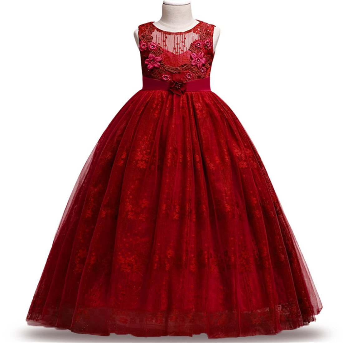 c6e80c3fec1c3 Big Girls Formal Dresses Size 9-10 Lace Princess Special Occasion Dress  Sleeveless Red Christmas Wedding Holiday Party Girl Dress 10 Years Old  Elegant Tulle ...