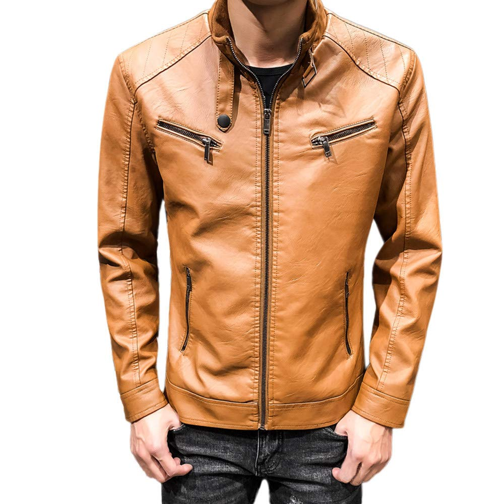 Hattfart Coffee Leather Jacket Men for Motorcycle - Distressed Lambskin Waxed Biker Leather Jacket (M, Gold) by Hattfart Men's Jacket Coat