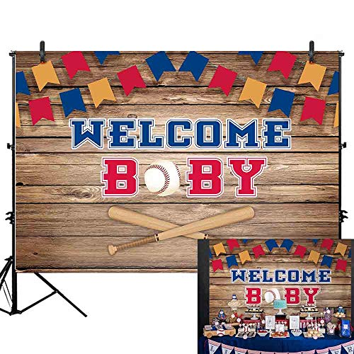 Allenjoy 7x5ft welcome baby Little Slugger vintage baseball bowl Baby Shower Retro Wood brown board wall photography backdrop Colorful flag Newborn boys birthday sport party Decortion Photo Booth Prop]()