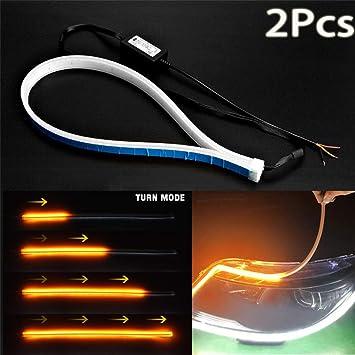 Tira de luces LED para coche de 60 cm, ultrafina, luz de circulación diurna