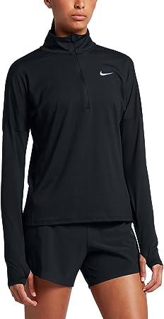NIKE 855517-010 M camisa y camiseta Cuello alto con cremallera Manga larga - Camisas y camisetas (Camisa, Adulto, Femenino, Negro, Estampado, M): Amazon.es: Deportes y aire libre