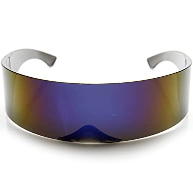zeroUV - Futuristic Wrap Around Monoblock Shield Sunglasses (Blue) t1rJ8i