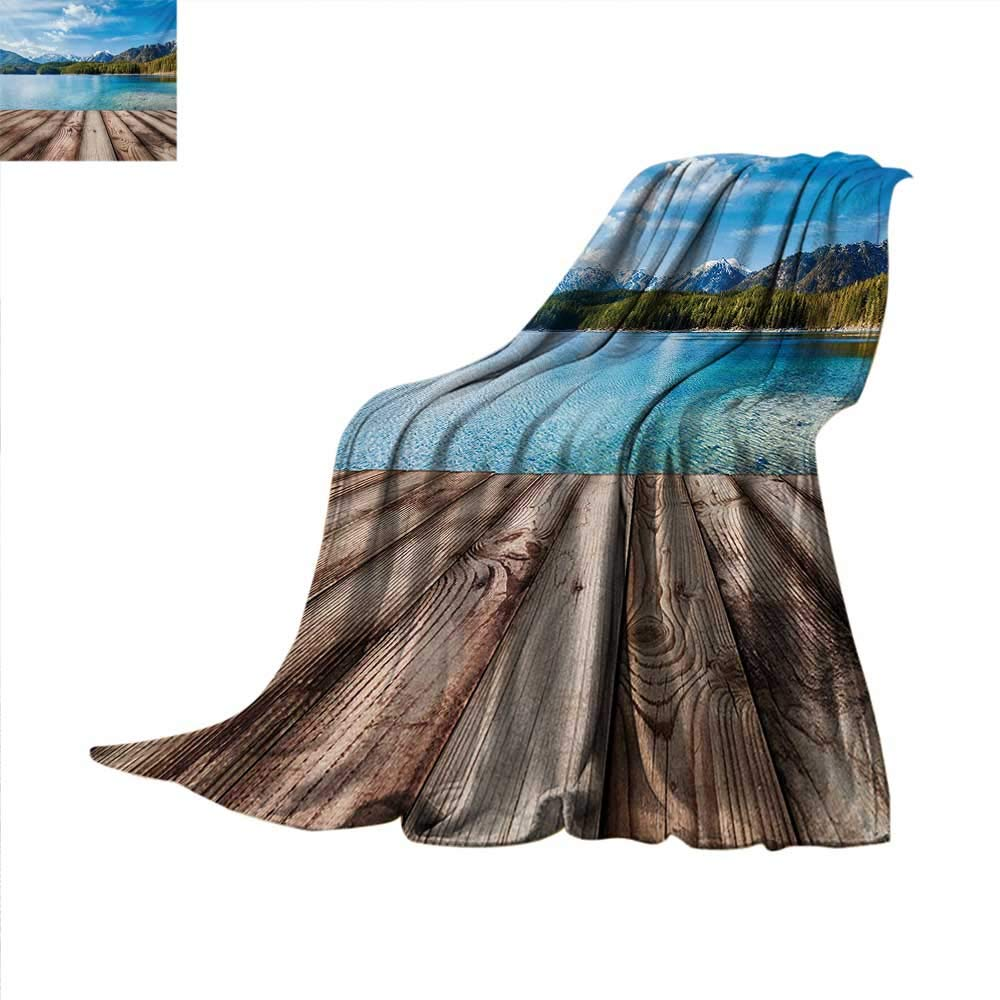 Mountain Weave Pattern Blanket Snowy Mountain Tops from Old Wood Deck Pier by Sea Idyllic Calm Coastal Charm Summer Quilt Comforter 62''x60'' Blue Brown