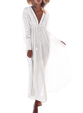 f519e79a18adb ASSKDAN Femme Bohême Coton Cover up Bikini Robe de Plage Maxi-Longue Manche  Longue (
