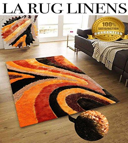 Viscose Vibrant Swirl Design Hand Tufted Shag Rug Burnt Orange Bright Design