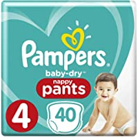 Pampers Baby-Dry Nappy Pants Size 4 Toddler (9kg-15kg), 40 Nappy Pants