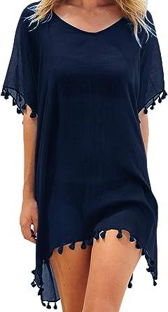 Women/'s Black Chiffon Tassel Swimsuit Bikini Beach Dress Cover up Wrap Beachwear
