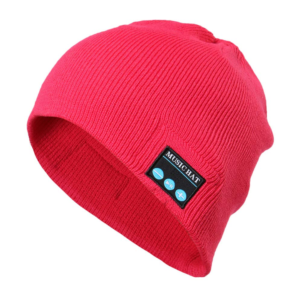 Red Ta Fashion Unisex Autumn Winter Bluetooth Wireless Warm Beanie Hat Handsfree Music Cap Headphone Headset xmas