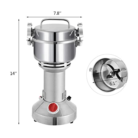 ALDKitchen Vertical Type Pulverizer Grain Mill Grinder Stainless Steel, Commercial Grade Grind Grain, Roots, Flour, Kernel, E-gelation, Olibanum, Milk Vetch Energy Saving Grinding 350 gr