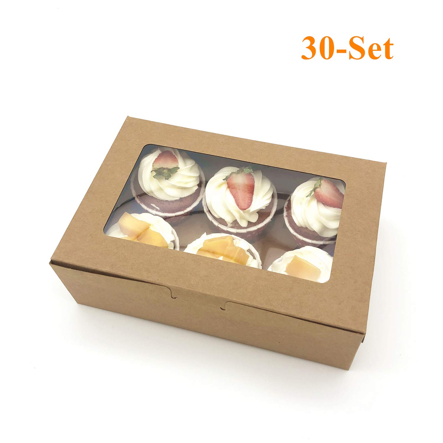 30-Set Cupcake Boxes with Inserts and Window Fits 6 Cupcakes, 9.4'' x 6.3'' x 3'', Brown Food Grade Kraft Cookie Gift Boxes, Treat Boxes for Cookies, Bakeries, Muffins and Pastries