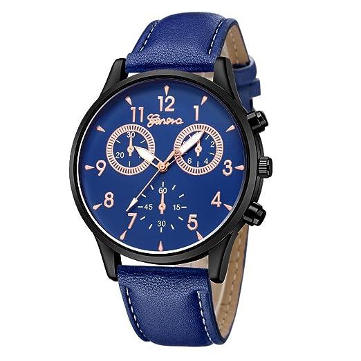 Relojes Hombre,❤LMMVP❤Los hombres de moda de cuero militar casual analógico reloj de pulsera de cuarzo relojes de negocios (C): Amazon.es: Relojes