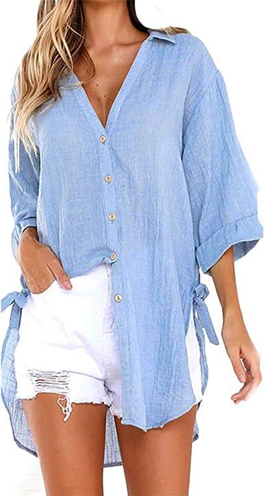 Blusas para Mujer, Camiseta Casual Tops Camisetas Blusa Vestido Camisero Largo con Botones Sueltos para Mujer Blusa Mujer Elegante Tallas Grandes S - 5XL: Amazon.es: Ropa y accesorios