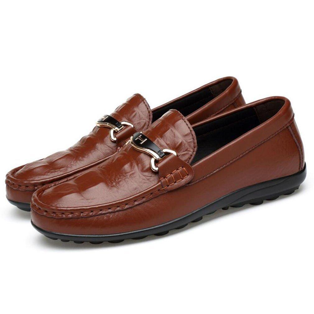 YAN Männer-Slip-Ons Lässige Leder-Loafers Schuhe Leichte Sohlen Treibende Schuhe Geschäft Work Party & Abend, B,47