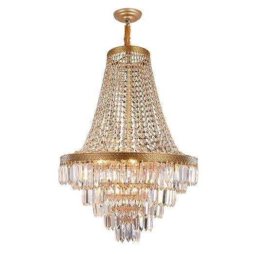 wenrun Lighting Salón Hotel Villa LED K9 Cristal de cobre araña techo lámpara latón Lámpara de