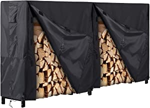 8 Foot Firewood Rack with Cover, Fire Wood Log Holder for Outdoor