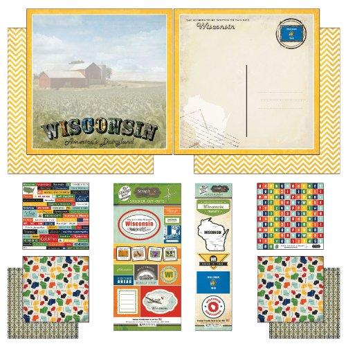 (Scrapbook Customs Themed Paper and Stickers Scrapbook Kit, Wisconsin Vintage)