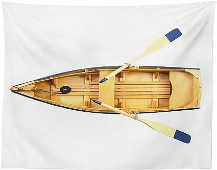 Vipsung Tovaglia Remo Barca Da Pesca In Legno Con Pagaie Mare Nave Little Ship Marine Yacht Immagine Sala Da Pranzo Cucina Tavolo Rettangolare Di Sabbia Marrone Blu Multy 84w By 60l Inches