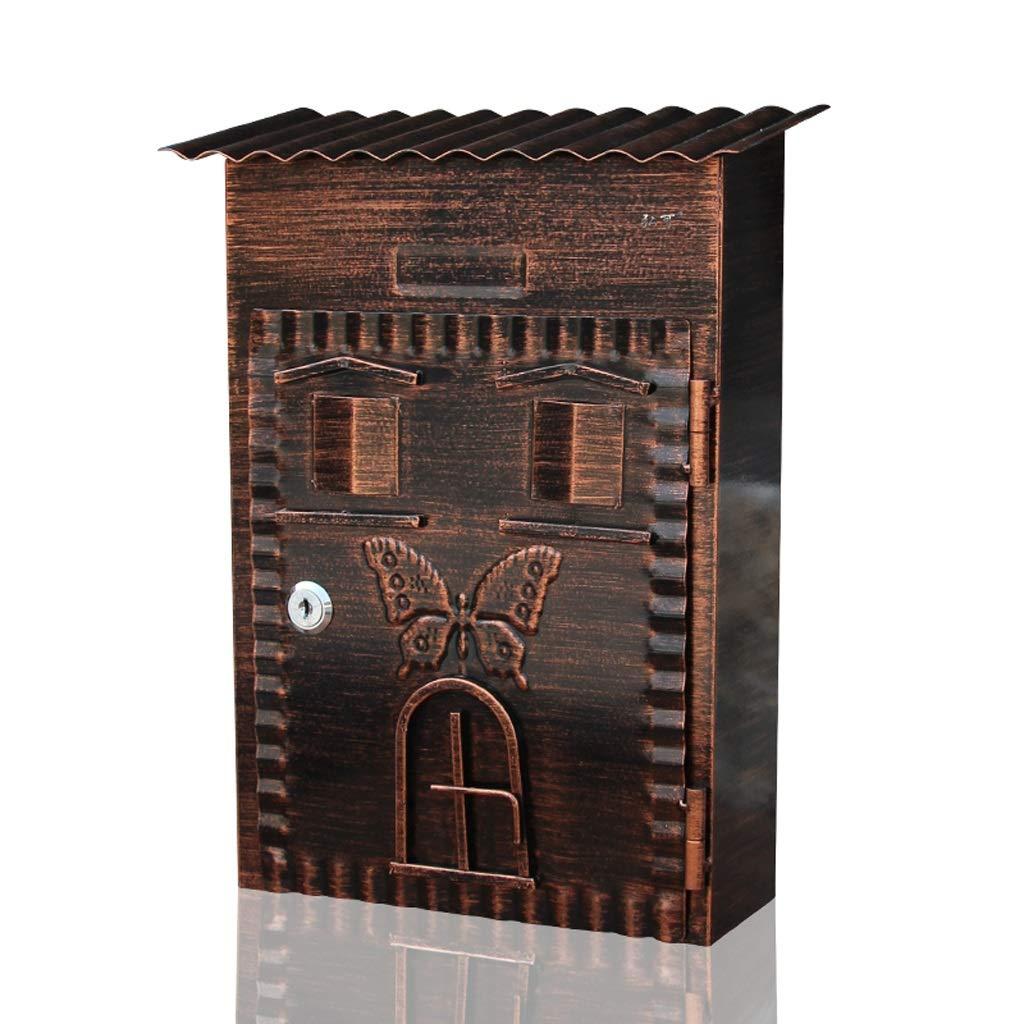 RMJAI メールボックス レトロメールボックスメールボックス屋外ウォールマウントレターボックス亜鉛メッキシート防水メールボックスポストボックス安全なレターボックス外側メールボックス   B07R81FLVF