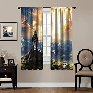 Blackout Curtains,Legend of Zelda Breath of The Wild,Link,Twilight Castle, Rod Pocket Thermal Insulated Darkening Window Drapes Bed valances for Bedroom, Cute Animal Cartoon Boys Girls Room Décor