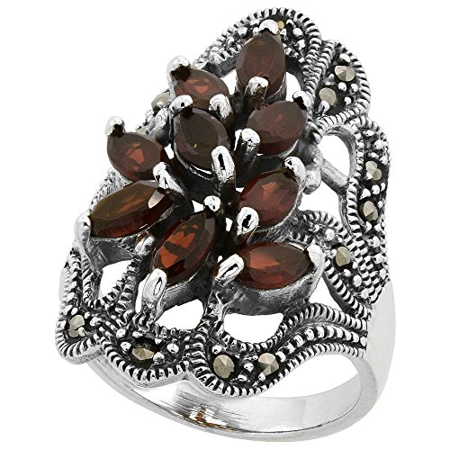 Sterling Silver Marcasite Natural (Sterling Silver Marcasite Freeform Ring, w/ Natural Garnet, 1 3/16 inch (30 mm) wide, size 9)