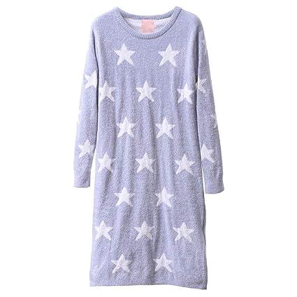 Pijamas Camisones de Manga Larga Star Sweet Lady Warm HUXIUPING (Color : Purple, Tamaño