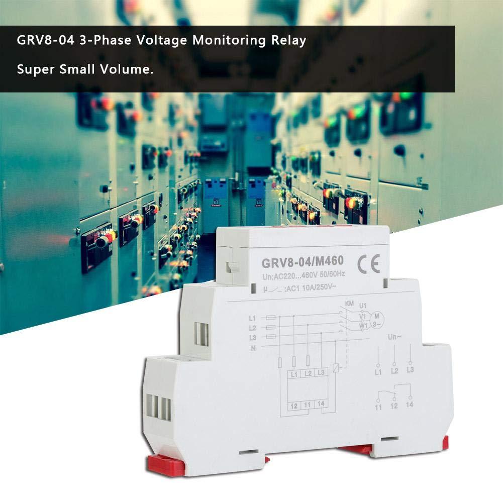 GRV8-04 3-phasiges Spannungs/überwachungsrelais Phasensequenzschutz f/ür das dreiphasige System M460