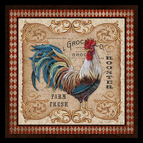 buyartforless IF JP3054 12x12 1.25 Black Plexi Framed Old World Rooster 12X12 Art Print Wall Decorative by Jean Plout (Framed Rooster Pictures)